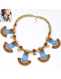 Printable Blue Diamond Decorated Fan Shape Design Alloy Fashion Necklaces