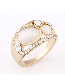Novelty Apricot Gemstone Decorated Oval Shape Design Alloy Korean Rings