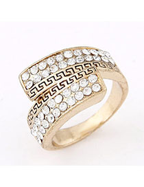 Boxed White Diamond Decorated Simple Design Alloy Korean Rings