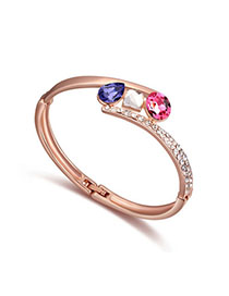Polaris Pinkish Purple & Rose Gold Diamons Decorated Simple Design Alloy Crystal Bracelets