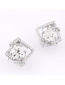 Engagement Silver Color Diamond Decorated Square Shape Design Alloy Stud Earrings