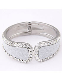Profession Silver Color Diamond Decorated Simple Design Alloy Fashion Bangles