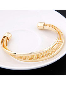 Nice Gold Color Metal Decorated Simple Design Alloy Fashion Bangles