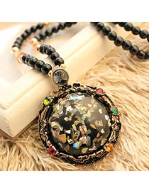 Stationery Multicolor Beads Decorated Round Pendant Design Alloy Bib Necklaces