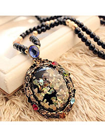 Tie Multicolor Beads Decorated Round Pendant Design Alloy Beaded Necklaces