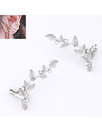 2012 Silver Color Diamond Decorated Leaf Shape Design Alloy Stud Earrings