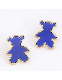 Handmade Blue Candy Color Bear Shape Simple Design Alloy Stud Earrings