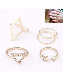 Smart Gold Color Diamond Decorated Triangle Shape Design Alloy Korean Rings
