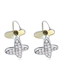 Connor Light Yellow Diamond Decorated Butterfly Shape Design Alloy Crystal Earrings