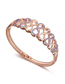 2012 Pinkish Purple & Rose Gold Diamond Decorated Eight Shape Design Alloy Crystal Bracelets