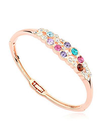 Steelers Multicolor & Rose Gold Diamond Decorated Simple Design Alloy Crystal Bracelets