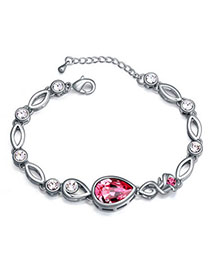 Floral Plum Red Diamond Decorated Waterdrop Shape Design Alloy Crystal Bracelets