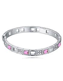 Aamazing Plum Red Diamond Decorated Simple Design Alloy Crystal Bracelets