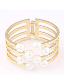 Pentacle Gold Color Pearl Decorated Multilayer Design Alloy Fashion Bangles