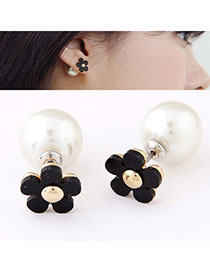 Fashion White Beads Decorated Long Earrings