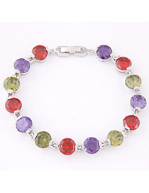 Baroque Multicolor Diamond Decorated Simple Design Zircon Fashion Bracelets