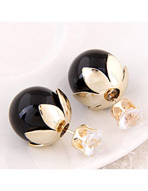 High Quali Black Round Shape Decorated Simple Design Alloy Stud Earrings