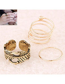 Customized Gold Color Leaf Shape Decorated Simple Design Alloy Korean Rings