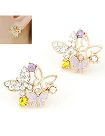 Aluminium Multicolor Diamond Decorated Butterfly Shape Design Alloy Stud Earrings