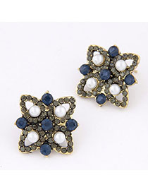 Waist White & Blue Diamond Decorated Flower Design Alloy Stud Earrings