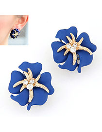 Platinum Blue Diamond Decorated Flower Design Alloy Stud Earrings