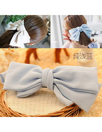 Slim Light Blue Pure Color Bowknot Shape Simple Design Alloy Hair Clip Hair Claw