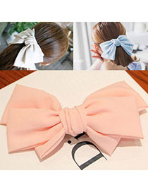 Tattoo Pink Pure Color Bowknot Shape Simple Design Alloy Hair Clip Hair Claw