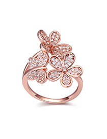 Synthetic White & Rose Gold Diamond Decorated Butterfly Shape Design Zircon Crystal Rings
