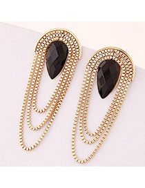 Printed Black Waterdrop Shape Decorated Tassel Design Alloy Stud Earrings