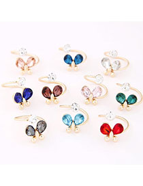 Everlas Random Color Diamond Decorated Butterfly Shape Design Alloy Korean Rings