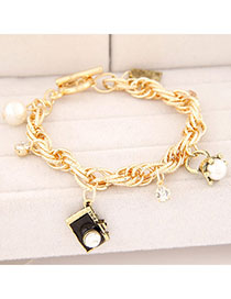 Special Black Pearl Decorated Camera Shape Design Alloy Korean Fashion Bracelet