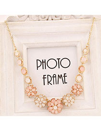 Rolling Pink Gemstone Decorated Flower Design Alloy Bib Necklaces