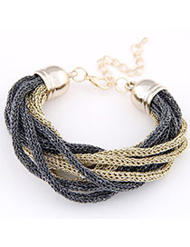 Famale Gold Color & Gun Black Weave Simple Design Alloy Korean Fashion Bracelet