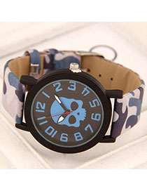 Folding Blue Skull Pattern Simple Design Alloy Ladies Watches