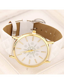 Monogramme White Snowflake Pattern Simple Design Alloy Ladies Watches