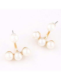 Trendy Beige Petal Shape Decorated Pure Color Long Earrings