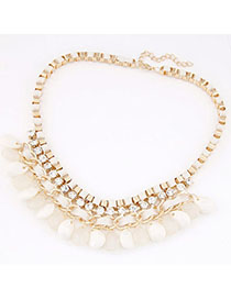 Celebrity White Diamond Decorated Waterdrop Shape Design Alloy Chains
