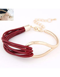 Temperament Gold Color Metal Square Decorated Simple Hair Band