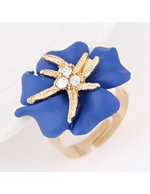 Double Blue Diamond Decorated Flower Design Alloy Korean Rings