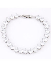 Gorgeous White Diamond Decorated Simple Design Cuprum Fashion Bracelets