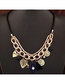 Colorful Bronze Multi-element Decorated Simple Design Alloy Bib Necklaces