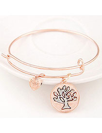 Define Rose Gold Tree Shape Decorated Simple Design Alloy Fashion Bangles
