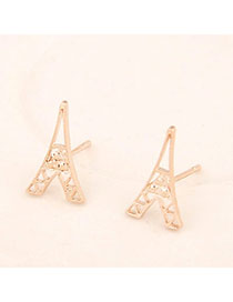 Athena Gold Color Tower Shape Decorated Hollow Out Design Alloy Stud Earrings