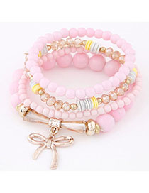 Square Pink Bowknot Shape Decorated Multilayer Design Alloy Korean Fashion Bracelet