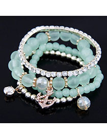 Venetian Green Diamond Decorated Multilayer Design Alloy Korean Fashion Bracelet