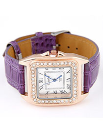 Free Purple Diamond Decorated Square Shape Design Alloy Ladies Watches