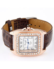 Engraved Brown Diamond Decorated Square Shape Design Alloy Ladies Watches