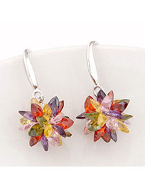 Floral Multicolor Gemstone Decorated Flower Design Alloy Fashion Earrings