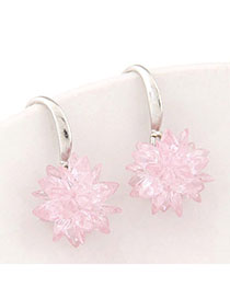 Indie Pink Gemstone Decorated Flower Design Alloy Fashion Earrings