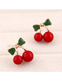 Parker Red Cherry Shape Decorated Simple Design Alloy Stud Earrings